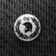 Trojan Head Black  and White Background 69 Laurel Hankie Pin 10mm